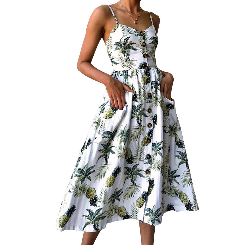 Summer 2019 Strap Print Floral Dot Long Boho Bohemian Beach Dress Women Sundress Sexy Casual Loose Elegant Vintage Ladies Dress