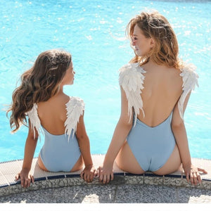 Mommy And Me Matching Swimwear One-piece Sexy Bodysuit Embroidery Wing Bikini 2019 Swimsuit Women Children Beach Bathing Suits