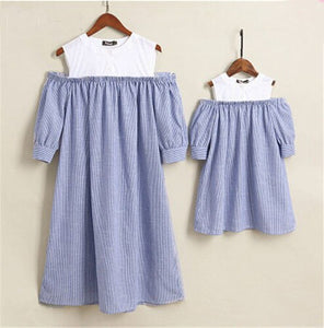 Mother Daughter Family Matching Off shoulder blue Striped Beach princess Dress for Women Girl mommy and me dress