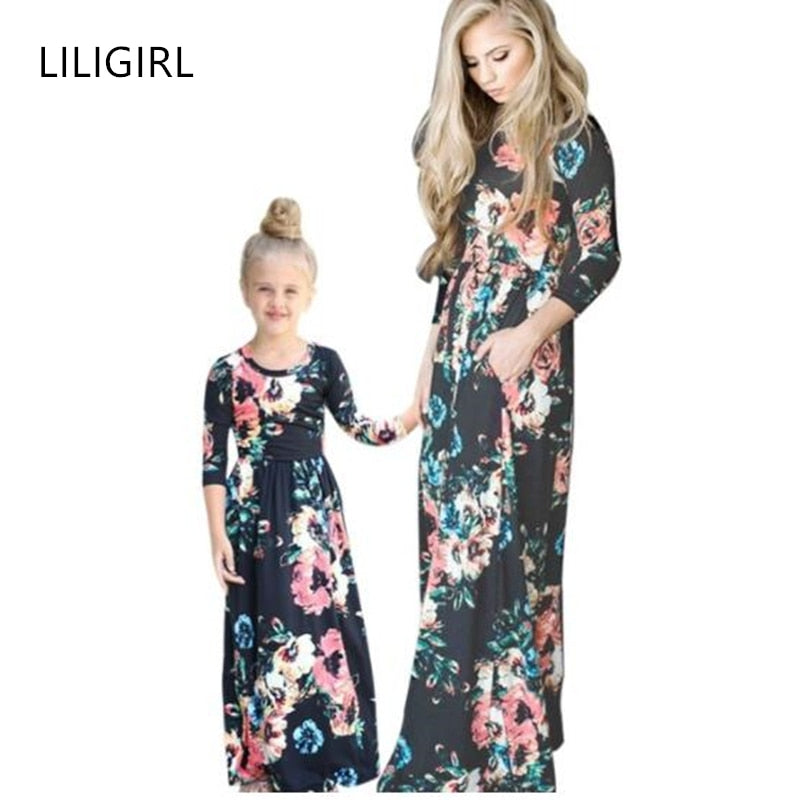 LILIGIRL Woman Fashion Dresses for Mother Daughter Floral Print Girls Dress Mommy and Me Dresses Family Matching Clothes Outfits