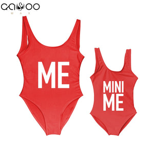 Mother and Daughter Children Bikini Me and Mini Me Letter Print Mommy&Babe Swimwear Mom Kids Bathing Suits One Piece Swimsuit