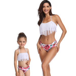 mother daughter swimsuit family matching outfits mommy and me clothes swimwear mom daughter tassel bikini high waist family look