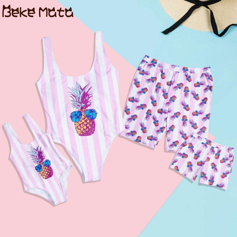 Mom Daughter Swimsuits Summer Mommy And Me Clothes Set Pineapple Print Family Look Mother Daughter Father Son Bathing Bikini