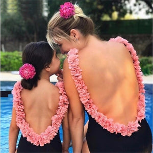 LILIGIRL Mother Daughter Swimsuit Bikini for Family Matching Beach Clothes Floral Mommy and Me Cute One-Piece Swimwear Outfits