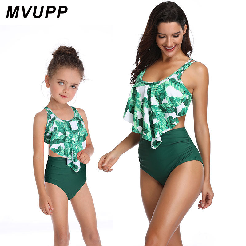 family swimsuit for mother daughter matching clothes mommy and me swimwear outfits mom mama girl beach bohemian high wait bikini