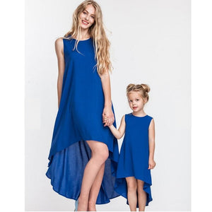 Irregular Mother Daughter Dress Family Matching Outfits Look Mommy and Me Clothes Fashion Mom Baby Daughter Dresses Clothing WT