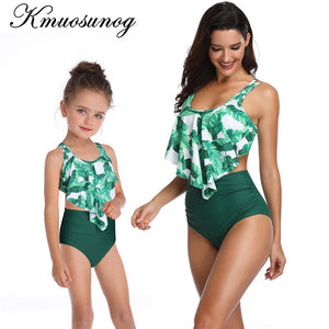 Family Matching Swimwear Green Leaf Print Beachwear mae e filha Mommy and Me Swimsuit Mother and Daughter Clothes B0302