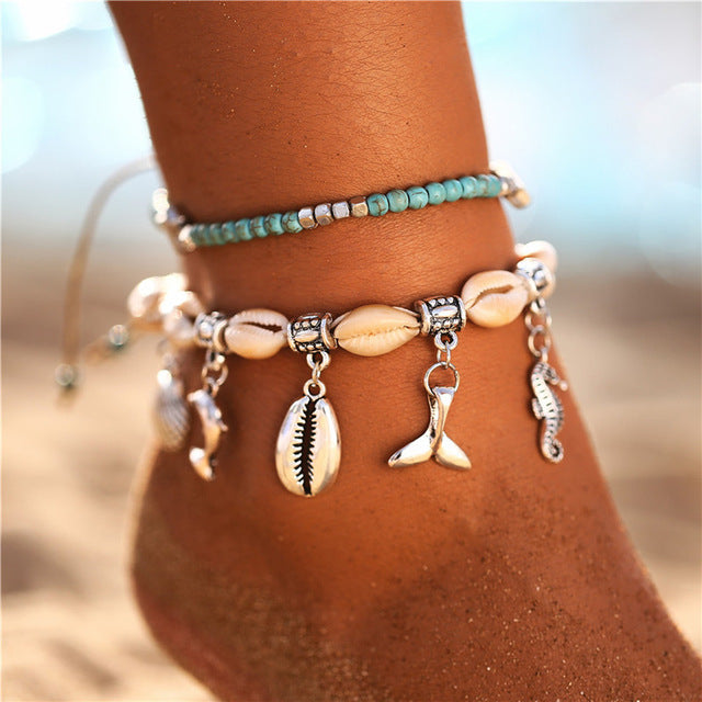 17KM Bohemian Starfish Stone Anklets Set For Women Vintage Handmade Wave Anklet Bracelet on Leg Beach Ocean Jewelry 2018