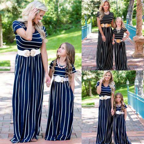 Fashion Mommy and Me Family Matching Clothes set Chiffon Striped Dress Mother Daughter Sundress for Kid Women Summer long Pants