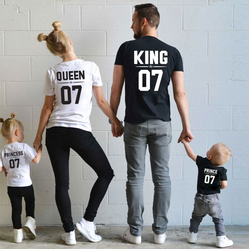 Summer mother and daughter clothes family matching outfits mommy and me look tshirt Mom son girl baby Princess Prince King Queen