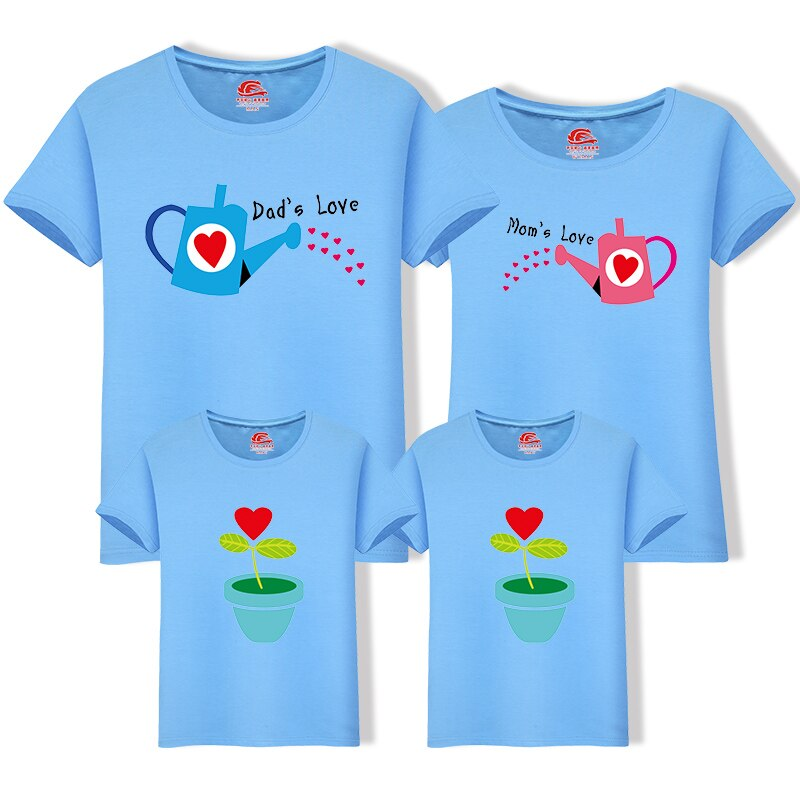 Family Matching Outfits Summer Mother And Daughter Clothes Mommy And Me Family Look T-shirt Father Son Clothing Flower Printing