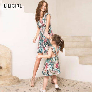 LILIGIRL Loaded Ruffled Mommy and Me V-neck Dress Summer Kids Dresses for Girls Family Matching  Mother Daughter Clothes Outfits