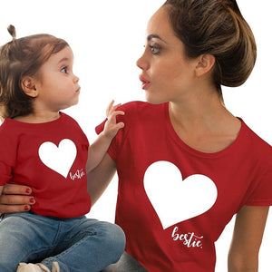 Mommy Mini Me Tee Cotton Family Matching Outfits Mother And Daughter Heart Printed T-shirts Family Matches The Same Tops Blouse