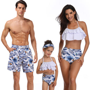 family swimsuits flounce mother daughter swimwear mommy dad and me clothes matching outfits look father son swimming shorts