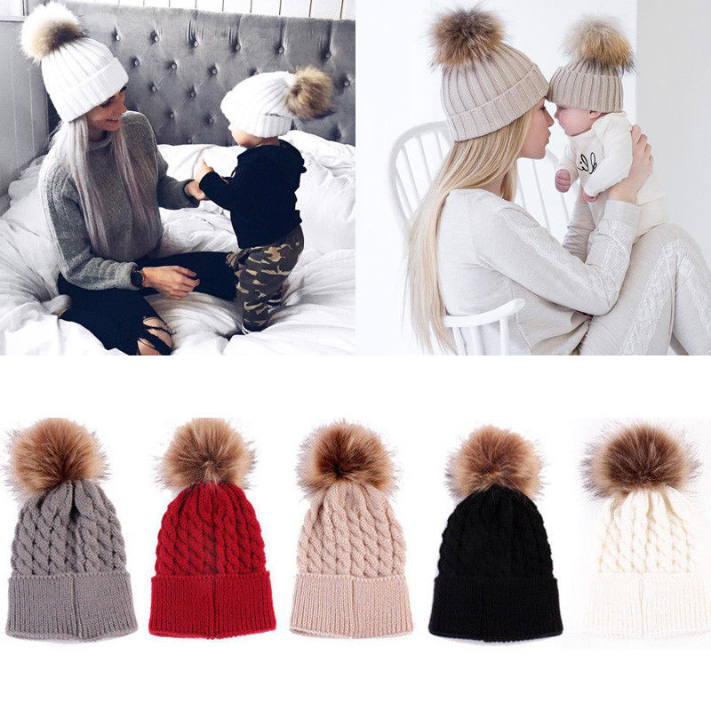 Mommy And Me Women Kids Girls Boys Baby Knit Pom Bobble Hat Winter Warm Beanie Caps