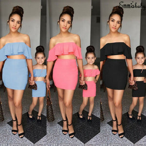 Mommy and me clothes Matching family Outfits pink boat neck strapless Ruffle Tops T-shirt Skirt Mini  Set