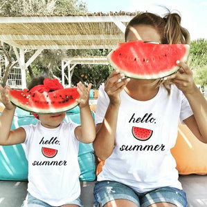 Hello Summer Watermelon Matching Mom and Daughter Son Shirts Mommy and Me Summer Casual Family Matching Tshirts Outfits