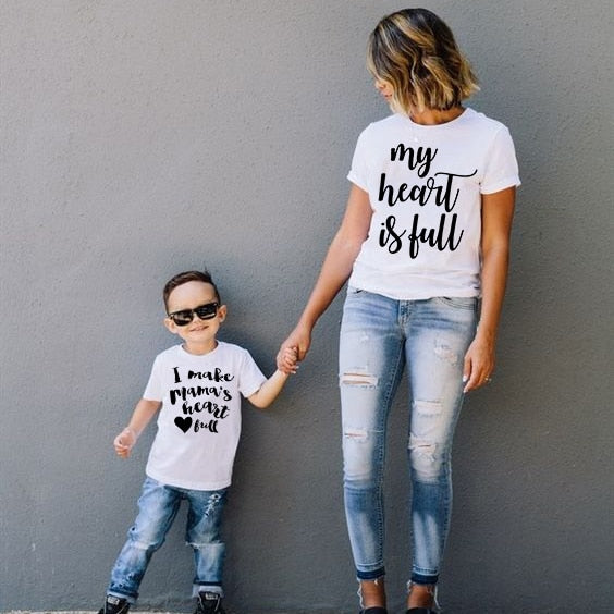 My Heart Is Full I Make Mama's Heart Full Tee Mommy&Me T-Shirts Mom and Son Short Sleeve T Shirt Family Matching Shirt Outfits