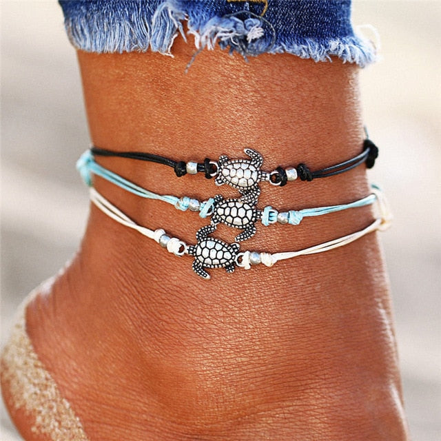 2019 New Boho Turtle Pendant Anklets For Women Shell Anklet Bracelets On The Leg Bohemian Foot Ocean Jewelry Drop Shipping