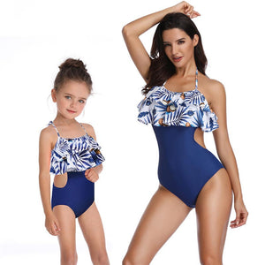 mother daughter swimsuit for mommy and me clothes swimwear mom matching oufits for family look flounce blue one piece bikini mum