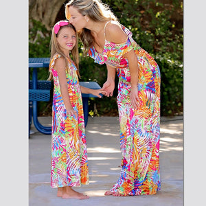 Long Tank Mother Daughter Dresses Family Look Mommy and Me Clothes Mom Mum Mama and Daughter Matching Outfits Dress Clothing