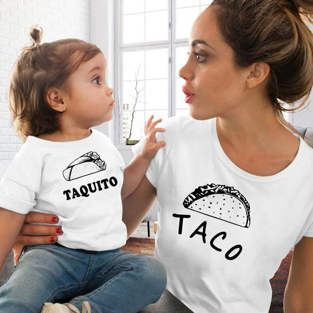 Taco and Taquito Family Matching Mom and Daughter Tshirts Mother and Me Shirt Summer Casual Mommy and Baby Matching Tee Outfits
