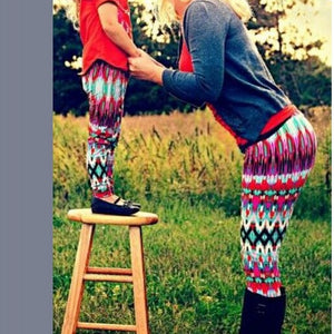 Mother and Daughter Matching Pants Digital Printing Leggings for Mommy and Me Parent-Child Clothing Matching Trousers