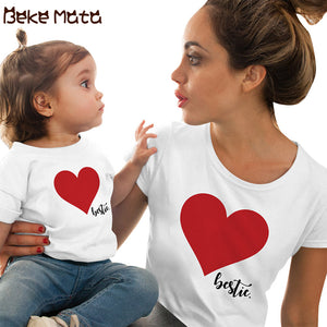 Family Matching Clothes Summer Mommy And Me Clothes Short Sleeve Heart Family Look Mother Daughter T Shirts Mom Girl Clothing