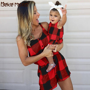 Mommy And Me Clothes Set Summer Matching Mom Girl Sets Plaid Short Sleeve Family Look Mother Daughter Jumpsuits Family Outfits
