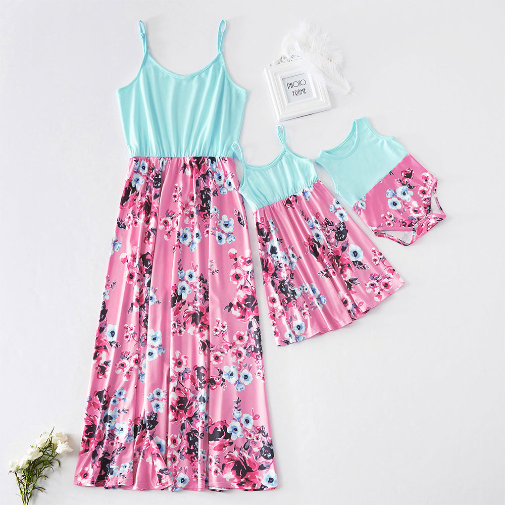 tank mother and daughter dresses flower matching mommy and me clothes family look high waist mom mum and baby girl dress outfits