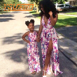 Family Look Mother Daughter Dresses Family Matching Outfits Floral Print V-neck Baby Girl Mother Clothing Mommy and Me Sundress