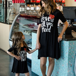 HE Hello Enjoy Mother Daughter Dresses Family Matching Clothes Print Letter Dress Mommy And Me Outfits Girls Sundress Clothes