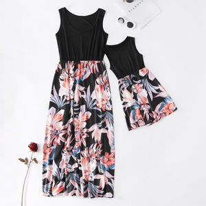 floral mother daughter vest dresses mommy and me clothes family matching outfits look sleeveless high waist mom mum baby dress