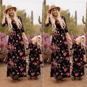 Fashion Family Matching Mother and Daughter Girls Mommy and Me Regular Black Sleeveless Boho Floral Holiday Long Maxi Dress