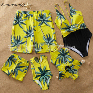 Family Look Mother Daughter Swimwear Father Son Swimming Shorts Mommy Dad and Me Bikini Swimsuits Clothes Summer Dress C0386