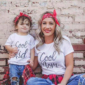 'Cool Mom' & 'Cool Kid' Matching Mom & Child Short Sleeve Shirts Mommy and Me Short Sleeve Letters Print Tops Clothes Outfits
