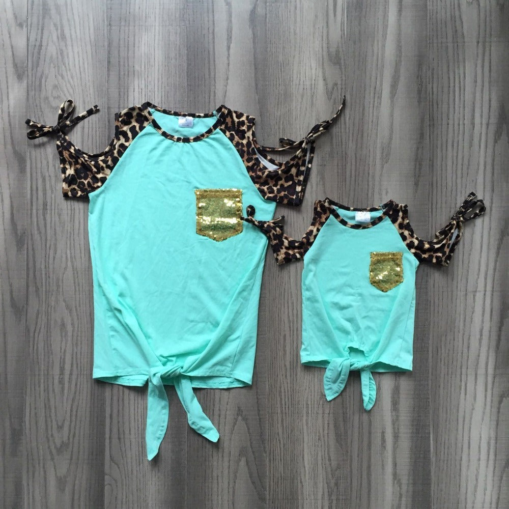 new arrivals baby girls spring summer two colors T-shirts leopard print sleeve baby and mom clothes mommy me shirts