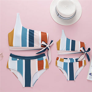 striped oblique swimsuits mother daughter swimwear family look mommy and me matching clothes mom mum and baby girls bikini dress
