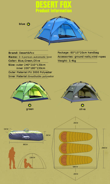 Instant Camping Tent, 3-4 Person Family Tent Double Layer