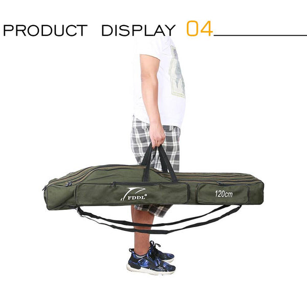 FDDL 110//120/130/150cm Canvas Foldable Fishing Rod Reel Fishing Tackle 2/3 Layers Blue/Green