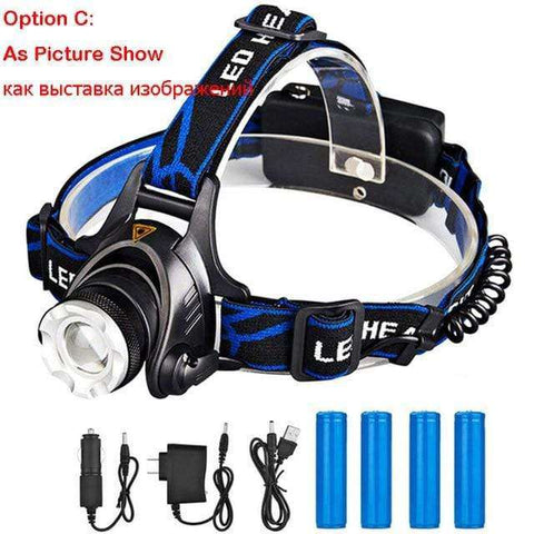 Rechargeable Waterproof Headlamp Zoomable 3 Modes LED Headlight