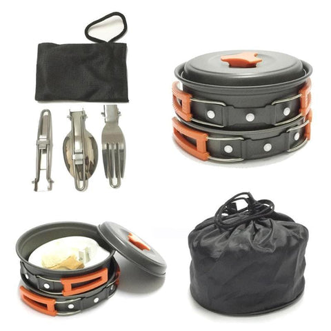 12pcs/Set Camping Cookware Outdoor Picnic Pot Pan Kit