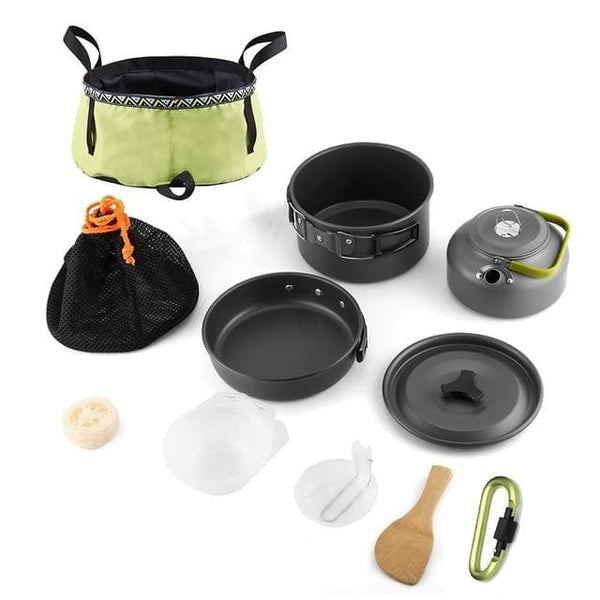 Outdoor Camping Pot Teapot Set With Folding Basin Cookware