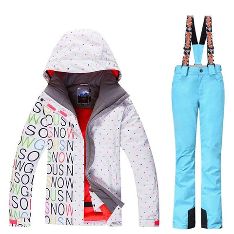 GSOU Snow Brand Waterproof Ski Suit Women