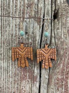 Natural Tooled Free Bird Earrings