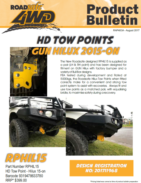 Toyota Hilux N80 GGn GUN 2015-on Roadsafe 4wd Tow Points Rp-hil15
