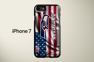 Seattle Seahawks Logo American Flag Apple iPhone 7 Cover Case