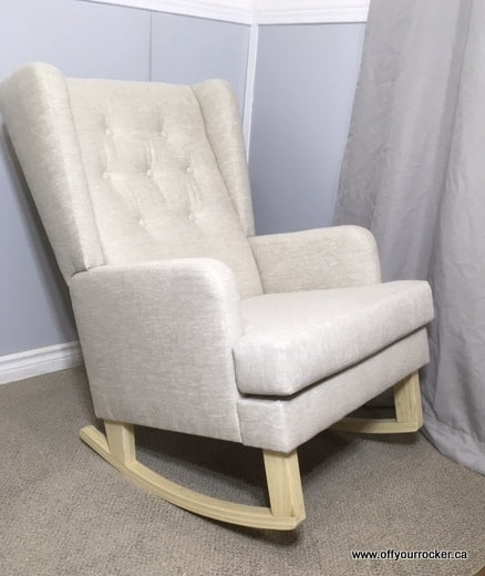 Jamestown Rocker With Oatmeal Linen & Button-tufted Back