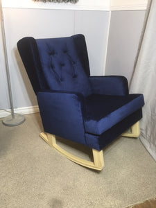 Jamestown Wingback With Blue Velvet Fabric & Buttons