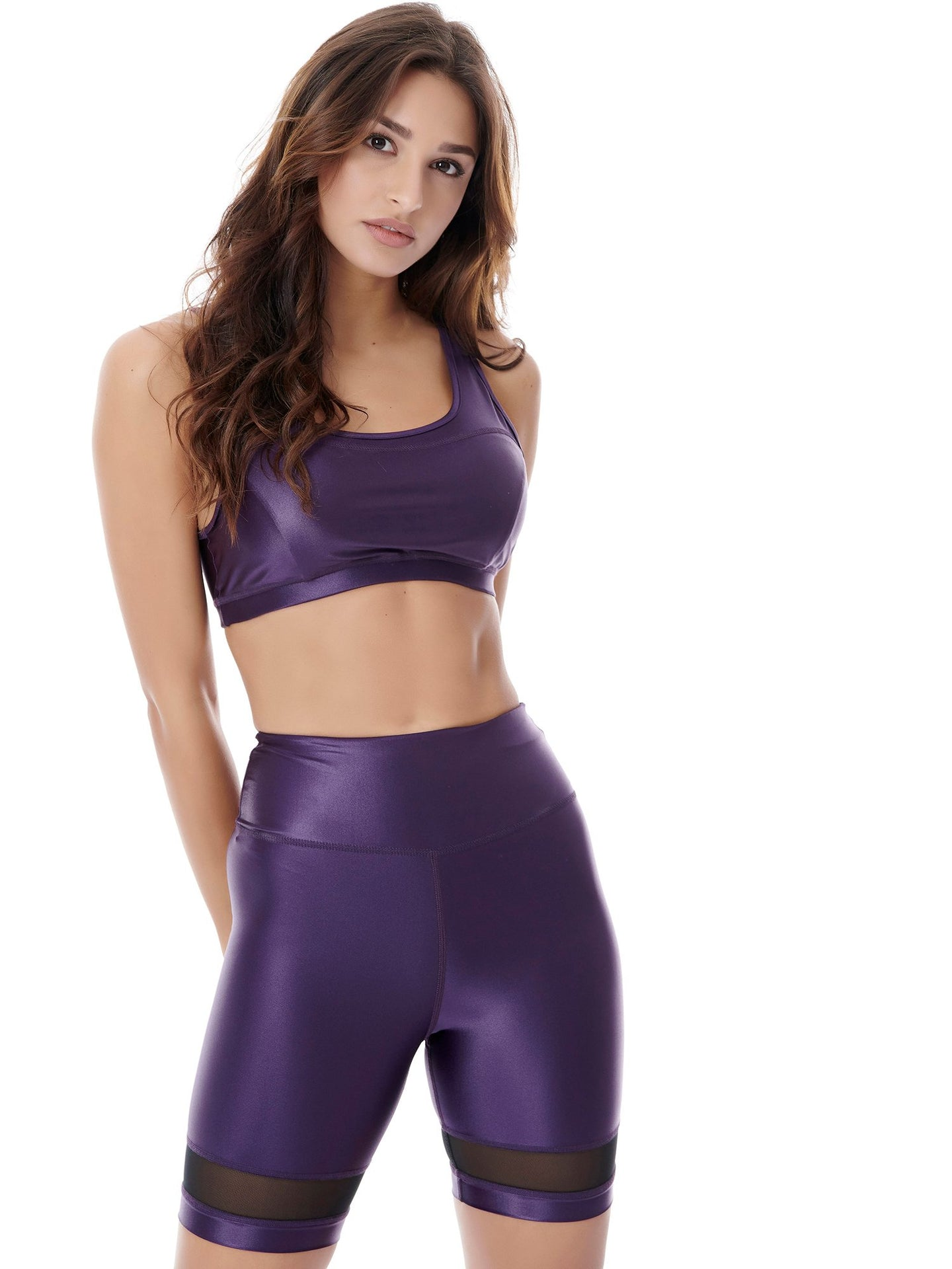 DAZZLE BIKER SHORT WITH MESH DETAIL - PURPLE
